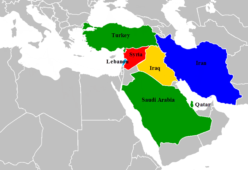 The surprising reason john mccain voted against a war in syria the map of countries surrounding syria red with military involvement gumiabroncs Image collections