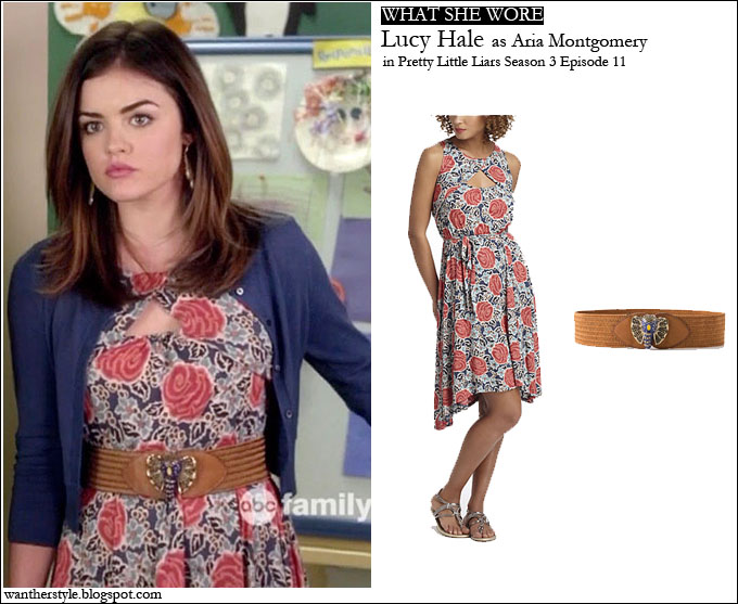 a9e682d6bbc WHAT SHE WORE  Lucy Hale as Aria Montgomery in Anthropologie flower print  dress with brown belt on Pretty Little Liars season 3 episode 11 ~ I want  her ...