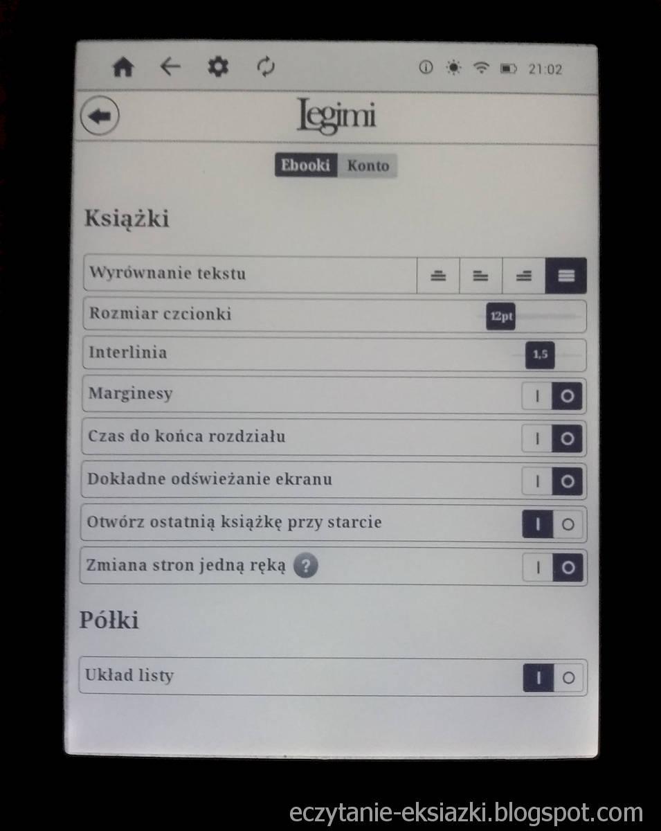 InkBOOK LUMOS – ekran ustawień e-booka w aplikacji Legimi ebooks
