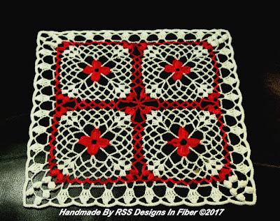 Red Flowers in White Lace Doily By RSS Designs In Fiber
