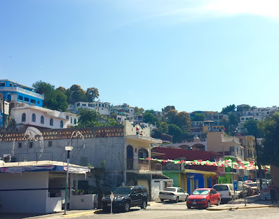 Street and hillside in Manzanillo, Mexico