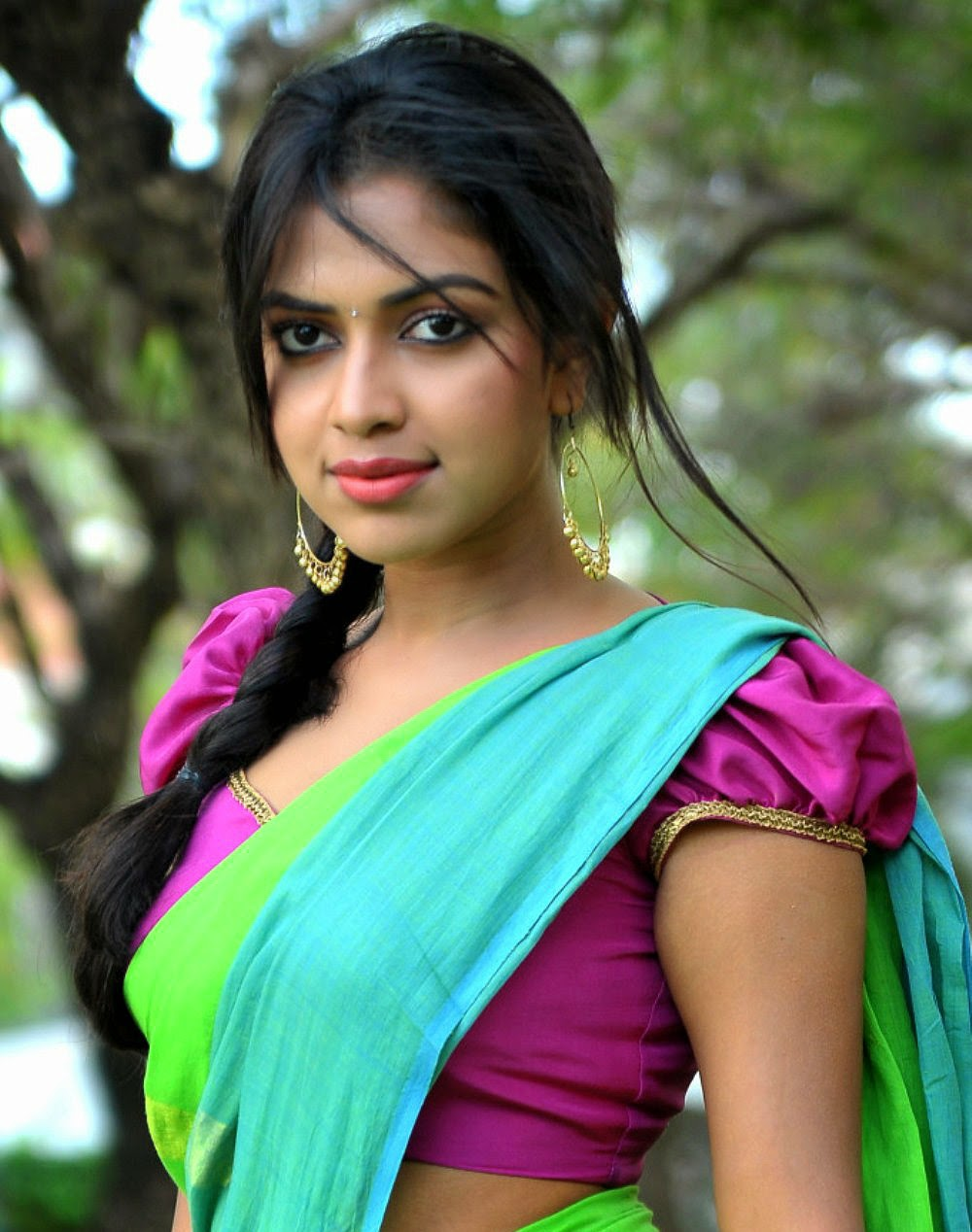 Amala Paul Hot In Saree Pallu Drop Big Boobs Deep Navel -3828