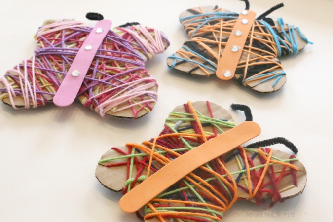 yarn wrapped butterfly spring fine motor craft