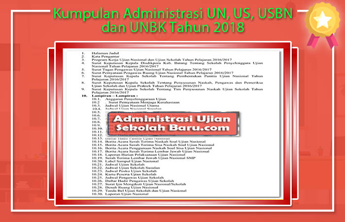 Kumpulan Administrasi UN, US, USBN dan UNBK Tahun 2018