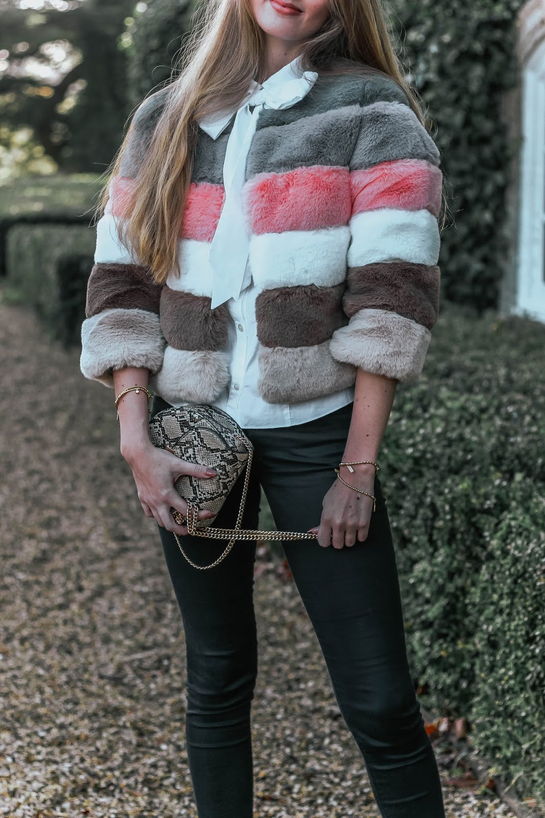 Bandits Amy Striped Faux Fur Jacket