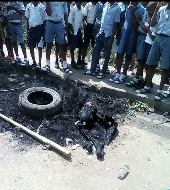 Photos: Angry mob set suspected kidnapper ablaze in Calabar