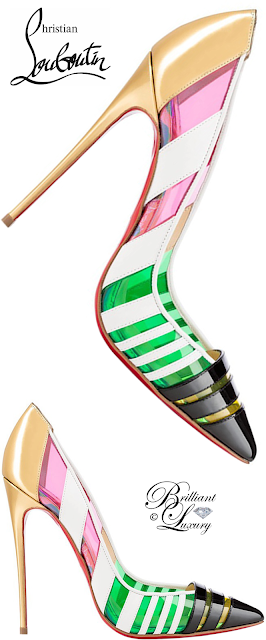 Brilliant Luxury ♦ Christian Louboutin Bandy Striped Pointy-Toe Red Sole Pump