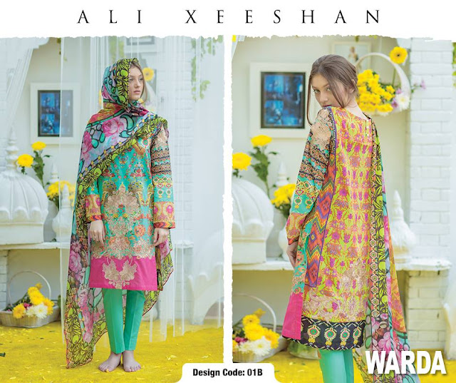Ali xeeshan exclusive Lawn collection 2016 with Warda