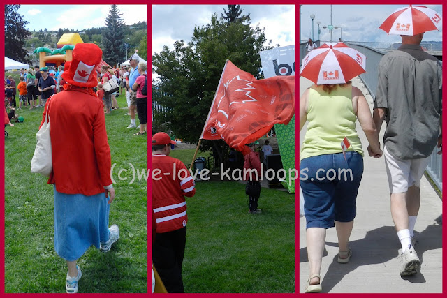 this collage shows different hats and a flag seen at Canada Day