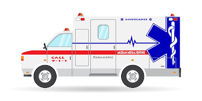 A computer generated image of an ambulance.
