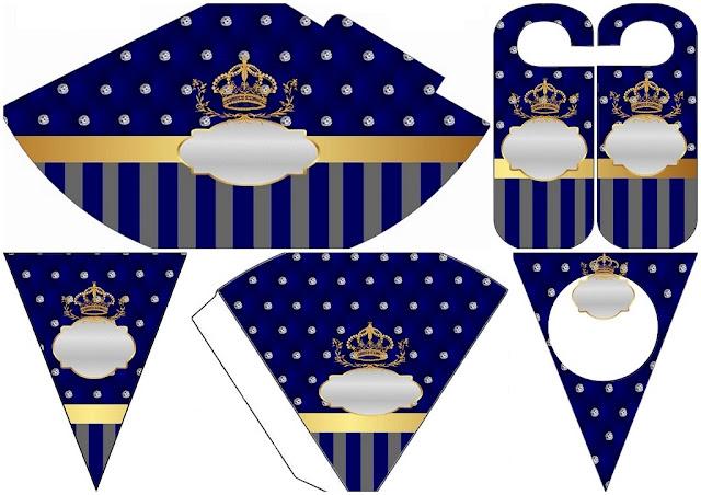 Corona Dorada en Azul y Brillantes: Imprimibles Gratis para Bodas.