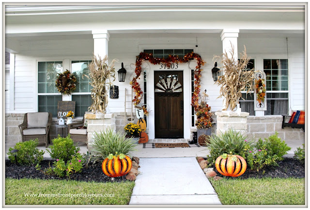 Fall Porch Decorations-Metal Pumpkins-Corn Stalks-Front Porch-Farmhouse-From My Front Porch To yours