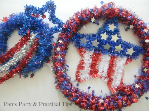 Patriotic Wreaths, Dollar Store Crafts, Easy Crafts.
