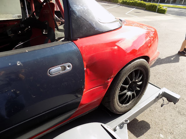Race damage on Spec Miata before repairs at Almost Everything Auto Body.