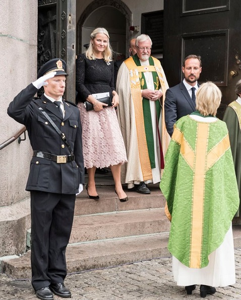 Crown Princess Mette Marit wore Lace Dress, Natan Pumps, Mette-Marit Style, Diamond Earrings