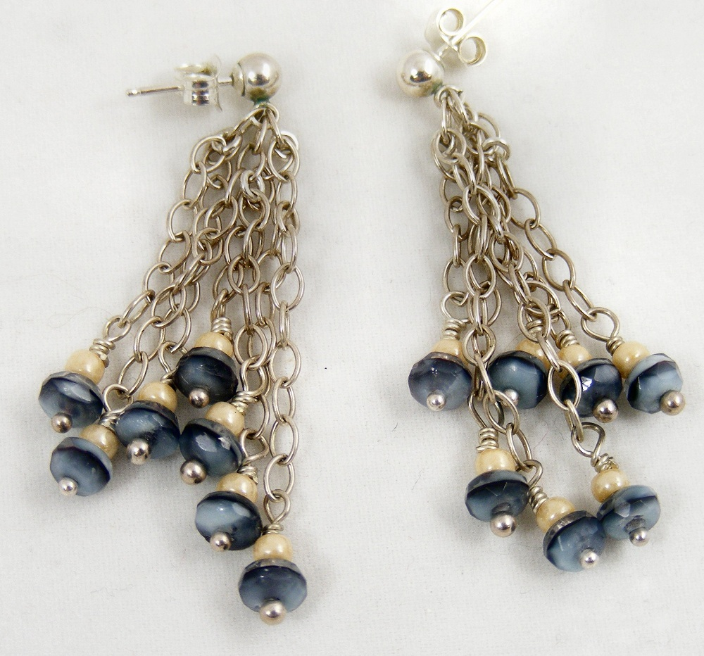 Sweet Freedom Designs: Denim Blue Dangle Earrings