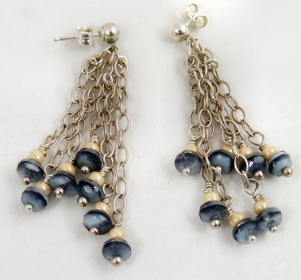 Sweet Freedom Designs: Denim Blue Dangle Earrings