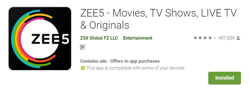 ZEE5 - (Movies, TV Shows, LIVE TV & Originals) ~ Apps Design
