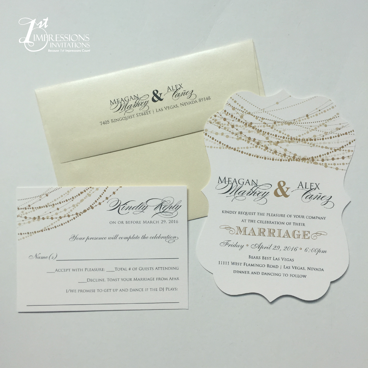 1st Impressions Invitations: Ornat Shaped Wedding Invitations with ...