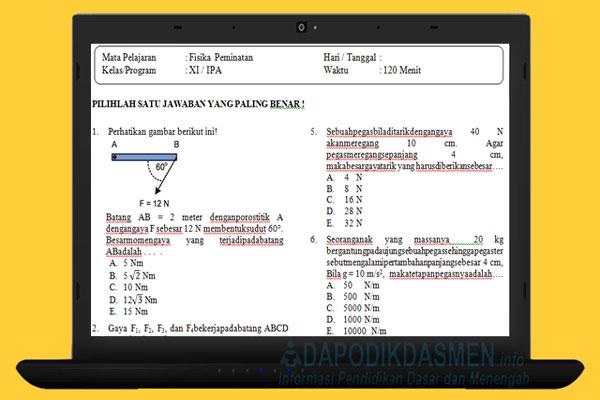 Soal PAT UKK Fisika SMA MA Kelas 11 Kurikulum 2013 Tahun 2019