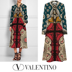 VALENTINO Dress and TORY BURCH Wedge - Queen Maxima Style