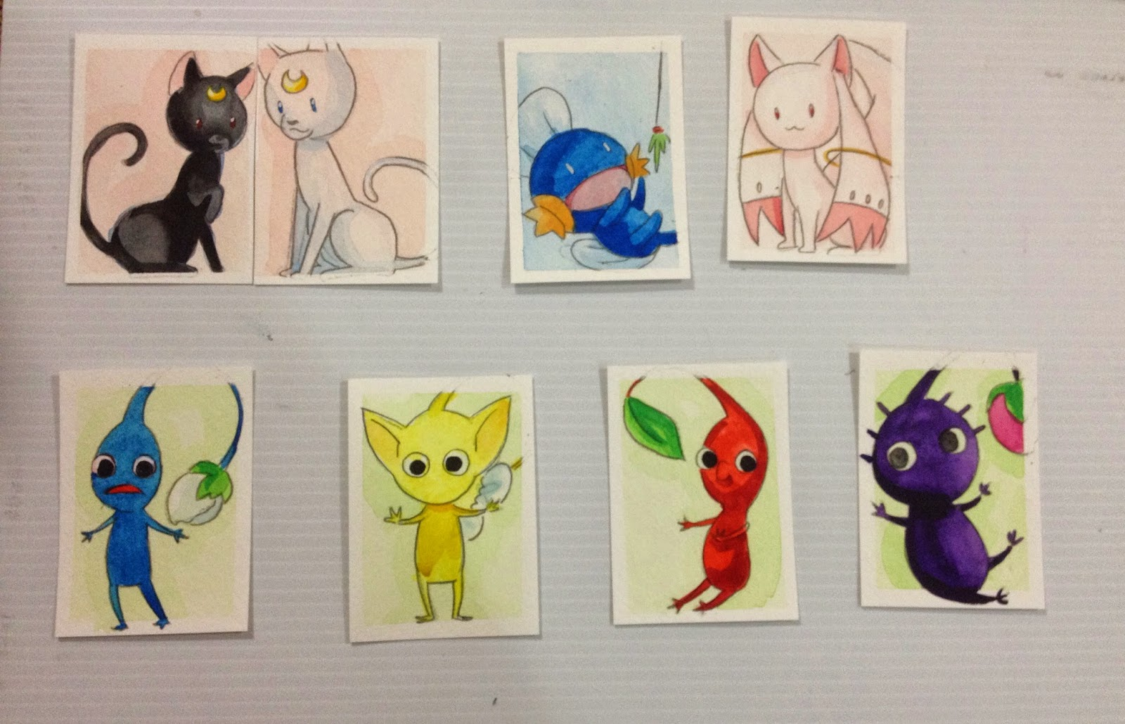 mini watercolors, GMX, Pikmin, Madoka, Kyubey, Luna and Artemis