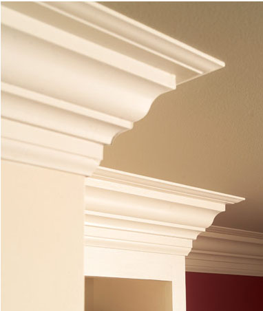 kitchen cabinets with crown molding added
