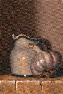 Oil painting of a garlic bulb beside a small white porcelain milk jug.