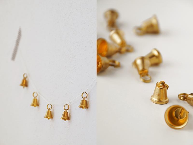 DIY easy golden bell christmas garland