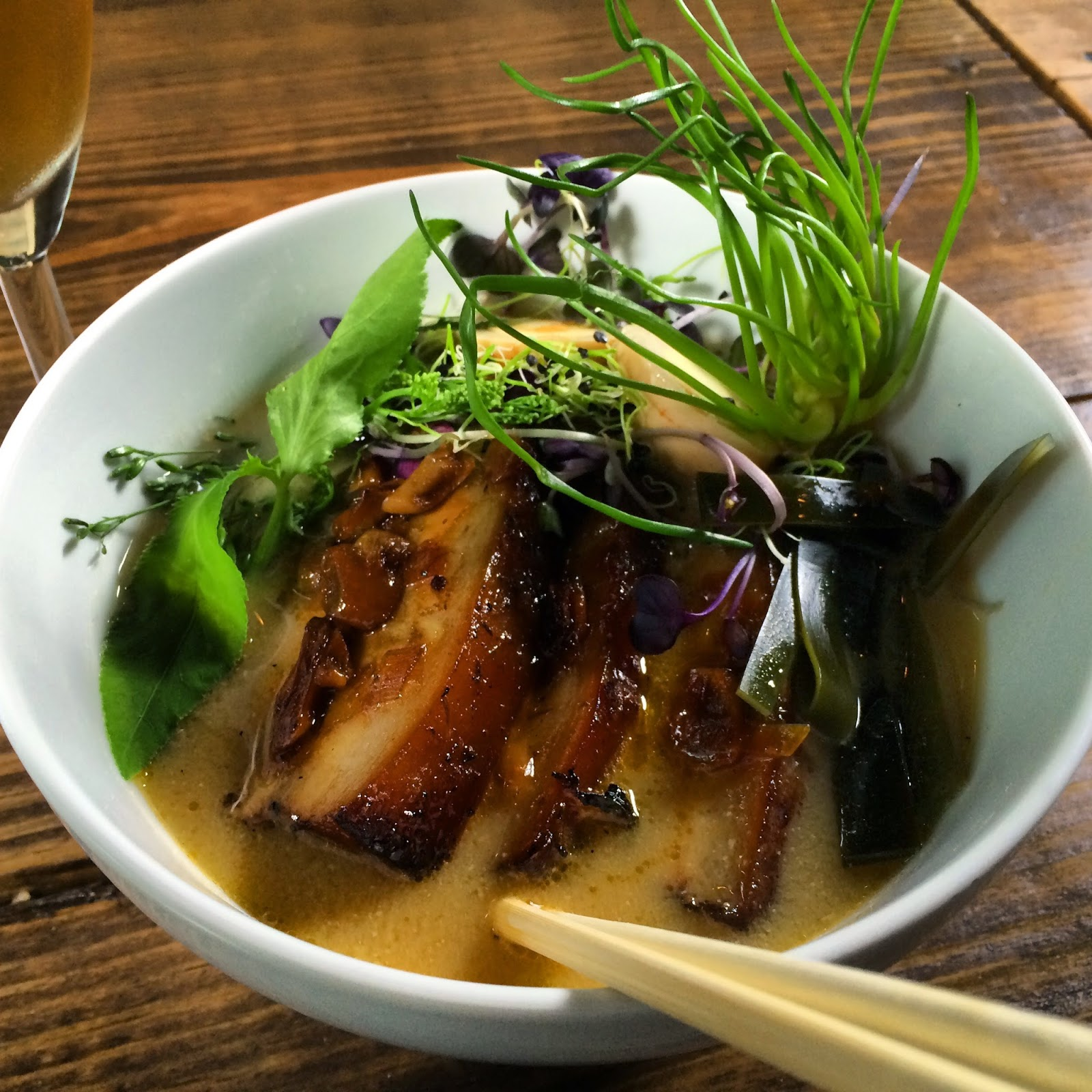 The Pork Belly Ramen at Bread & Circus Provisions in Lafayette