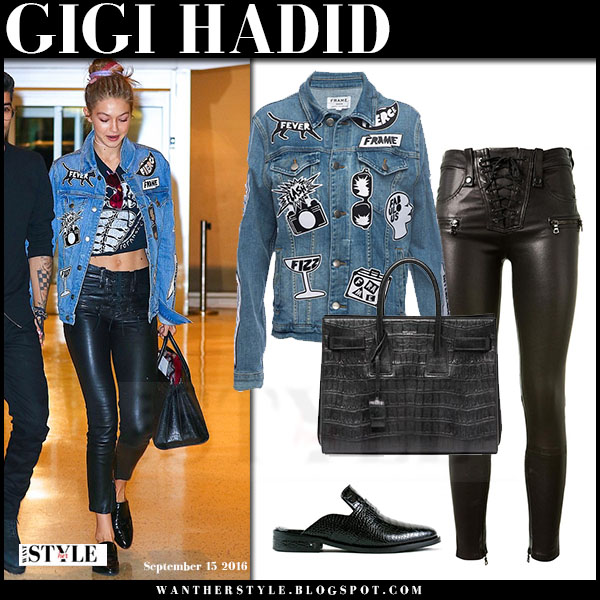 Gigi Hadid in patch denim jacket frame denim le original and black leather pants unravel what she wore