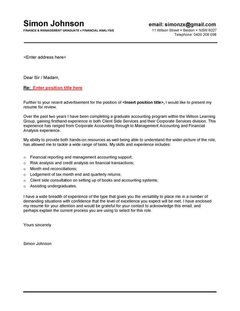 email covering letter template
