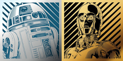 New York Comic Con 2016 Exclusive Star Wars C-3PO & R2-D2 Laser Engraved Metal Prints by Joshua Budich x Spoke Art