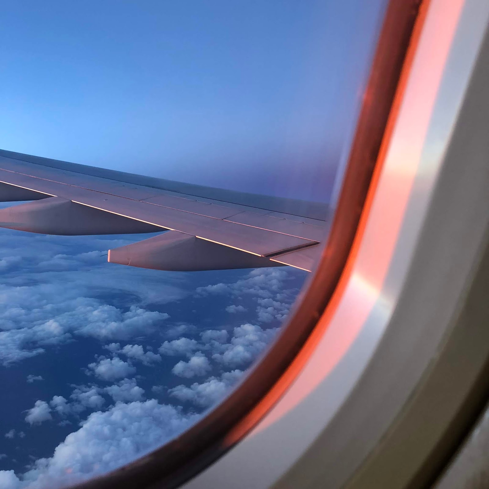 Plane wing at sunset