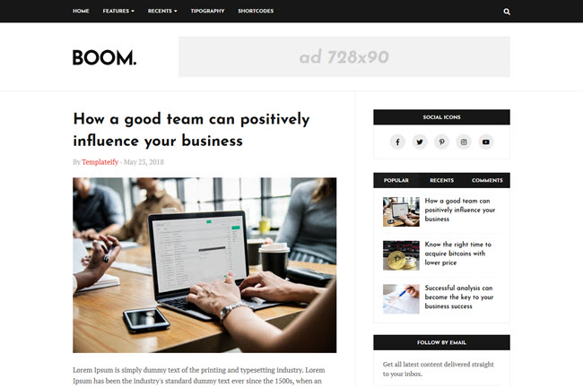 Boom is a professional person blogger template Free Download Boom Blogger Template