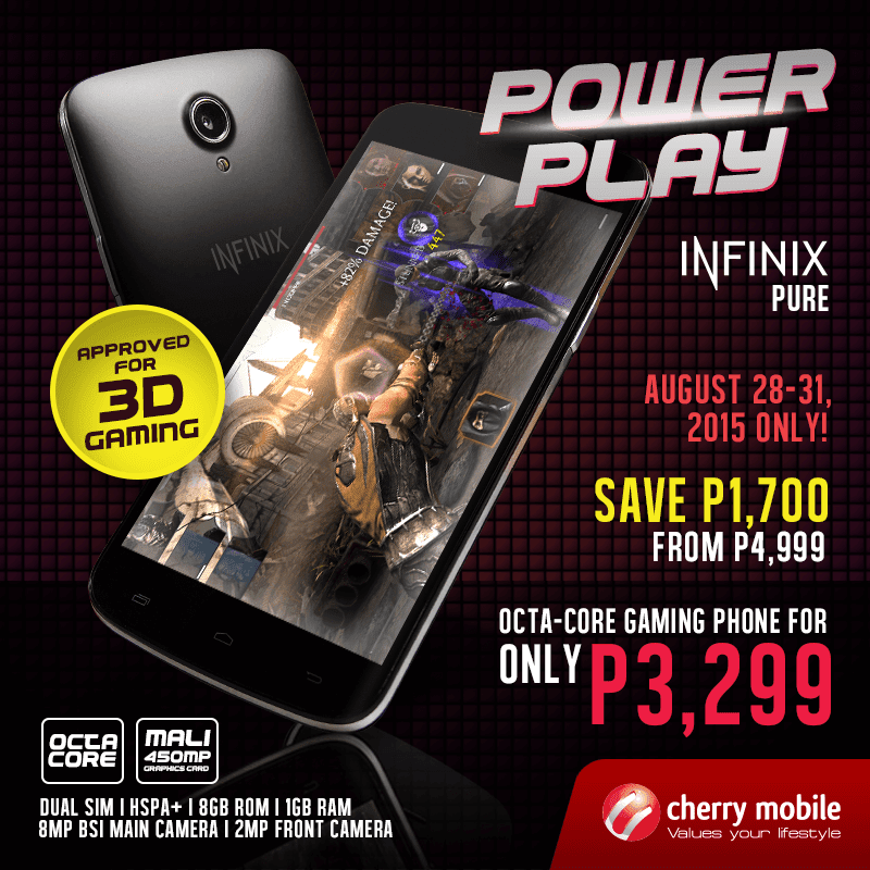 CHERRY MOBILE INFINIX PURE GOES ON SALE TOO! DOWN TO 3299 PESOS!