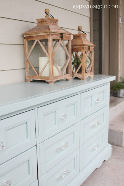 dresser makeover with glass cabinet hardware - gypsy magpie