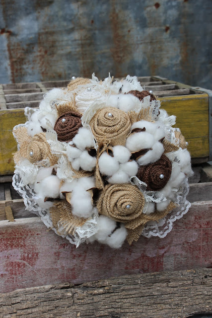 rustic country burlap and cotton wedding flowers