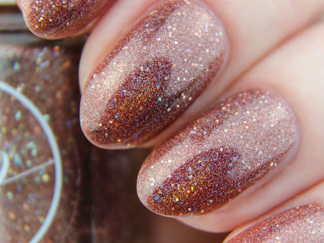 "Painted Polish ""Mocha Mantra"" holo swatch"