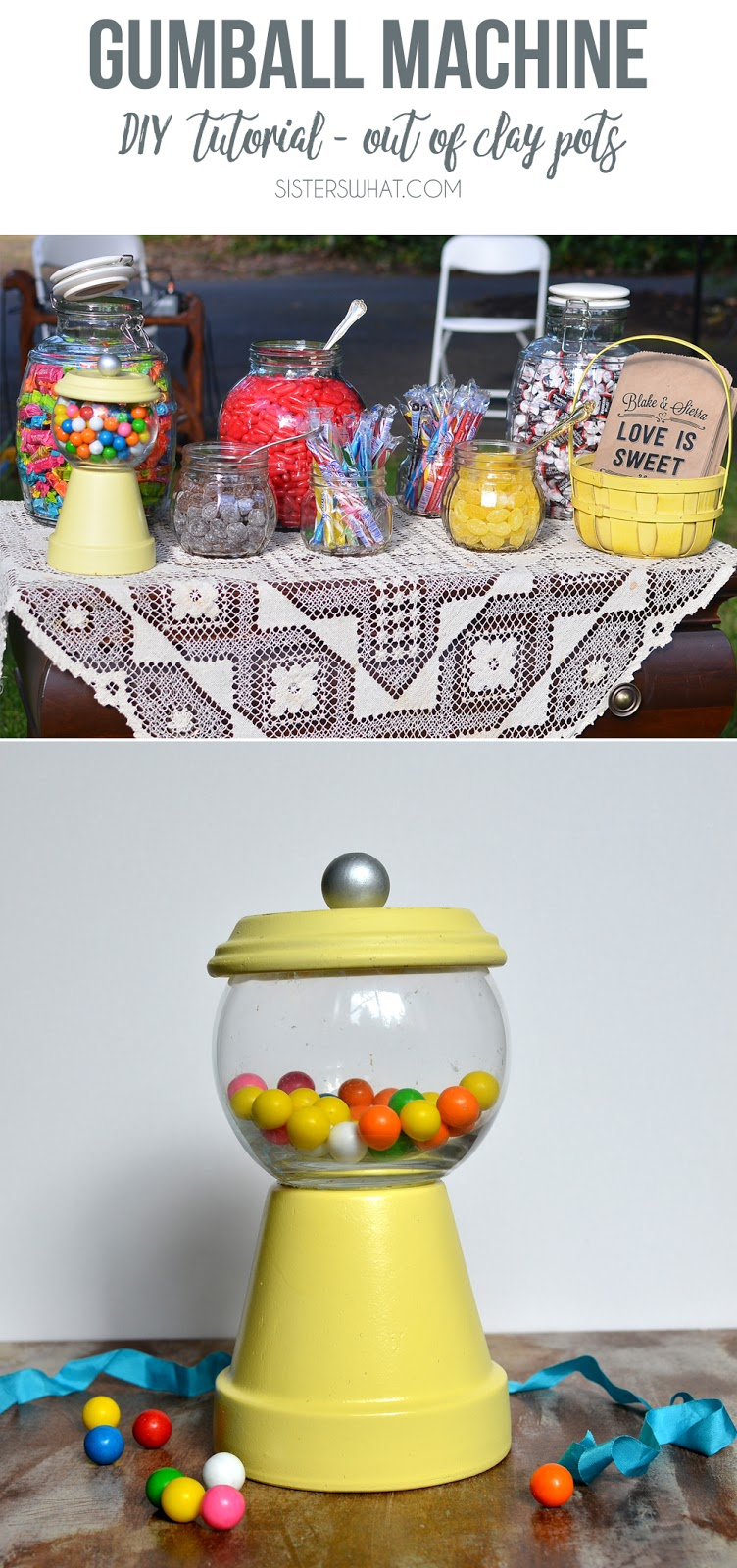 Make a pretend gumball machine out of clay pots!!