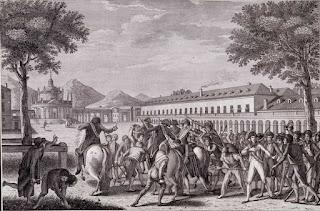Caída y prisión del Príncipe de la Paz (c. 1814); grabado de Francisco de Paula Martí de un dibujo de Zacarías Velázquez. Muchas personas capturando a Godoy.