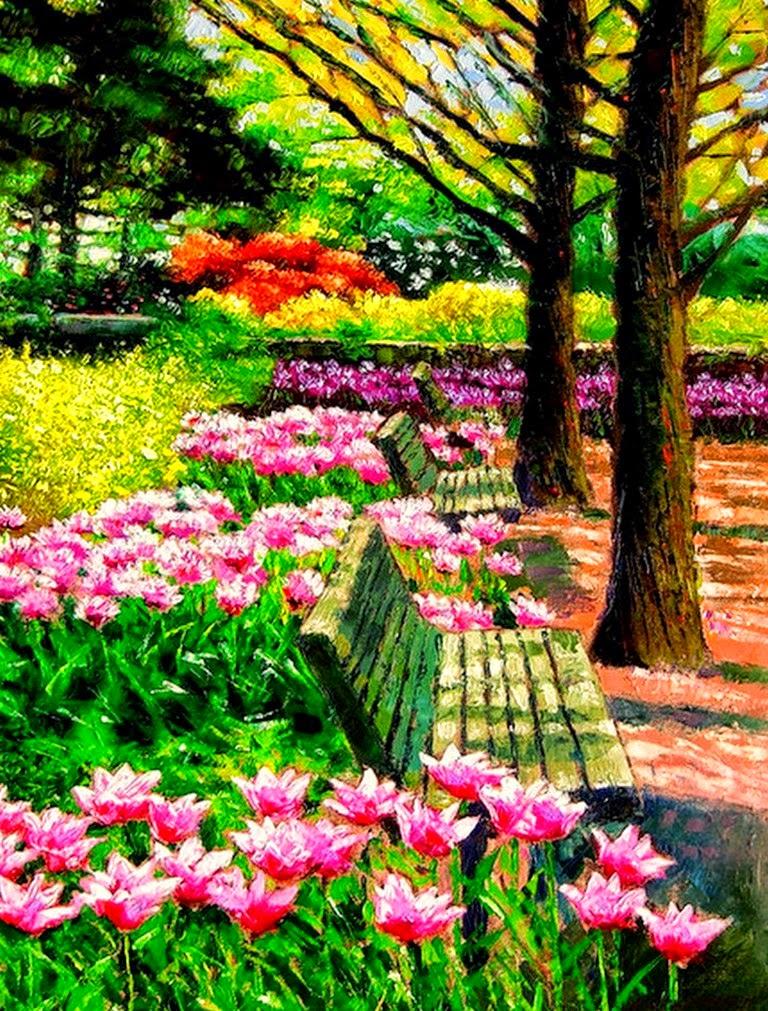 Cuadros modernos pinturas y dibujos paisajes de jardines - Paisajes y jardines ...