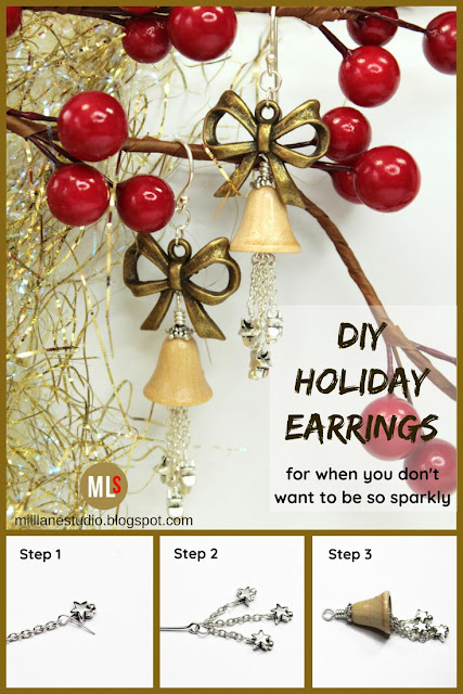 DIY Wooden Bell Christmas Earrings pin
