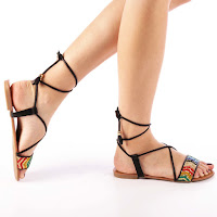 Sandale cu snur si material textil decorat cu strasuri