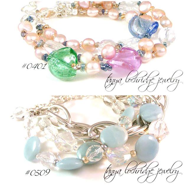 Tanya Lochridge Jewelry Amazonite Gemstone & Lilac Lampwork & Pearl Bracelets