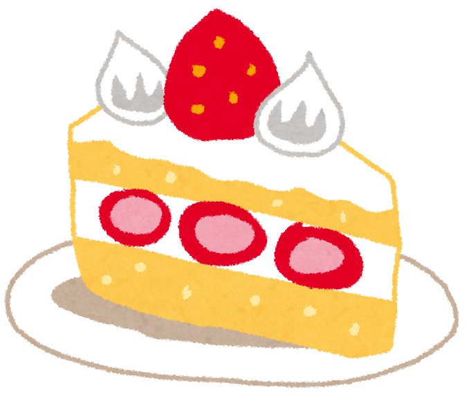 カットされた、かわいいショートケーキのイラストです。