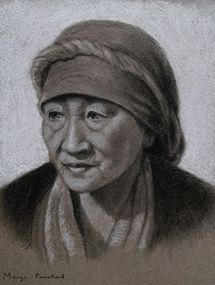 Charcoal portrait drawing on toned paper by Manju Panchal