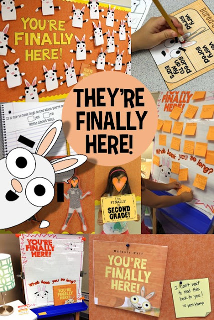 Hilarious and fun back to school activities, anchor chart, crafts and bulletin boards for a full first week of fun with the book You're Finally Here! by Melanie Watt. Your kids will LOVE this!