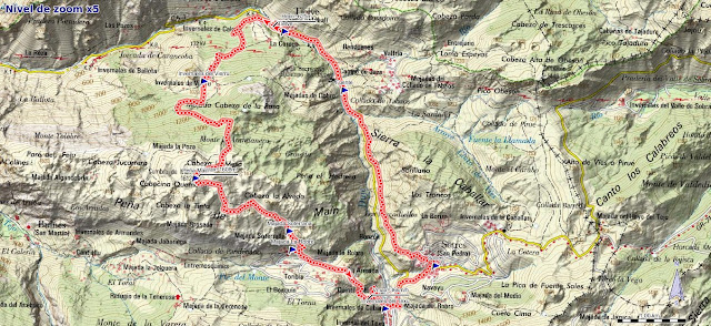 Mapa de la ruta Tielve Peña Maín