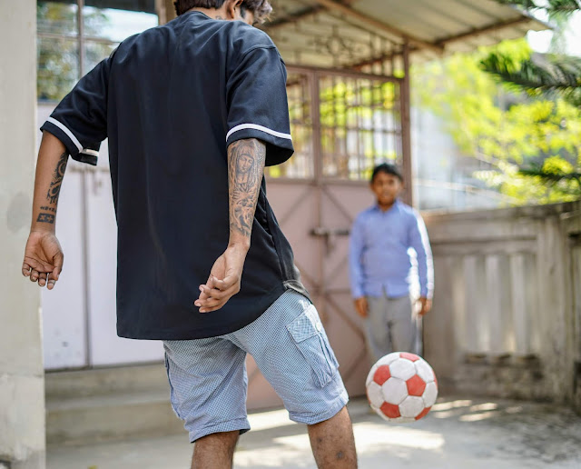 Sourajit Saha and Rick Playing Football 2
